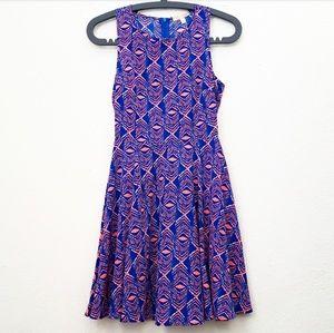 GB Florescent Orange & Blue Skater Dress